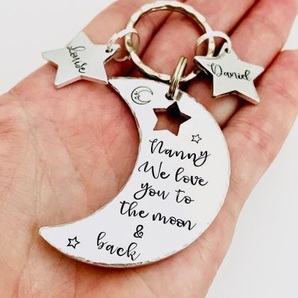 Personalised Keyring For Nanny, Lov..