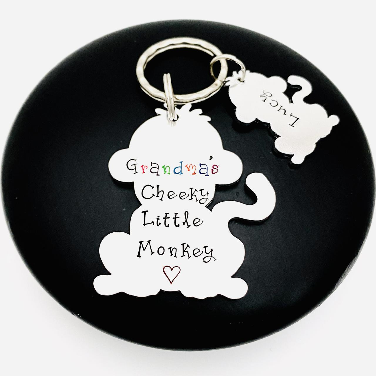 Personalised Monkey Keyring, Gift For Grandma, Cheeky Monkey Grandma Keyring Keychain, Gift For Nana, Gift Off The Kids, Mothers Day Gift..