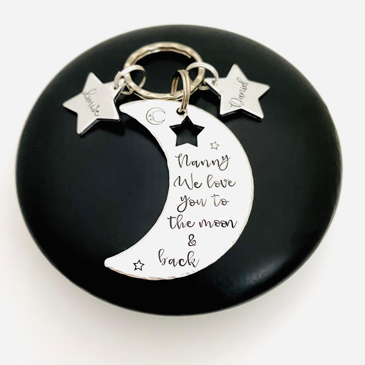 Personalised Keyring For Nanny, Love You To The Moon And Back, Personalized Nana Keychain, Gift For Grandma, Mothers Day Gift, Gift For Gran..