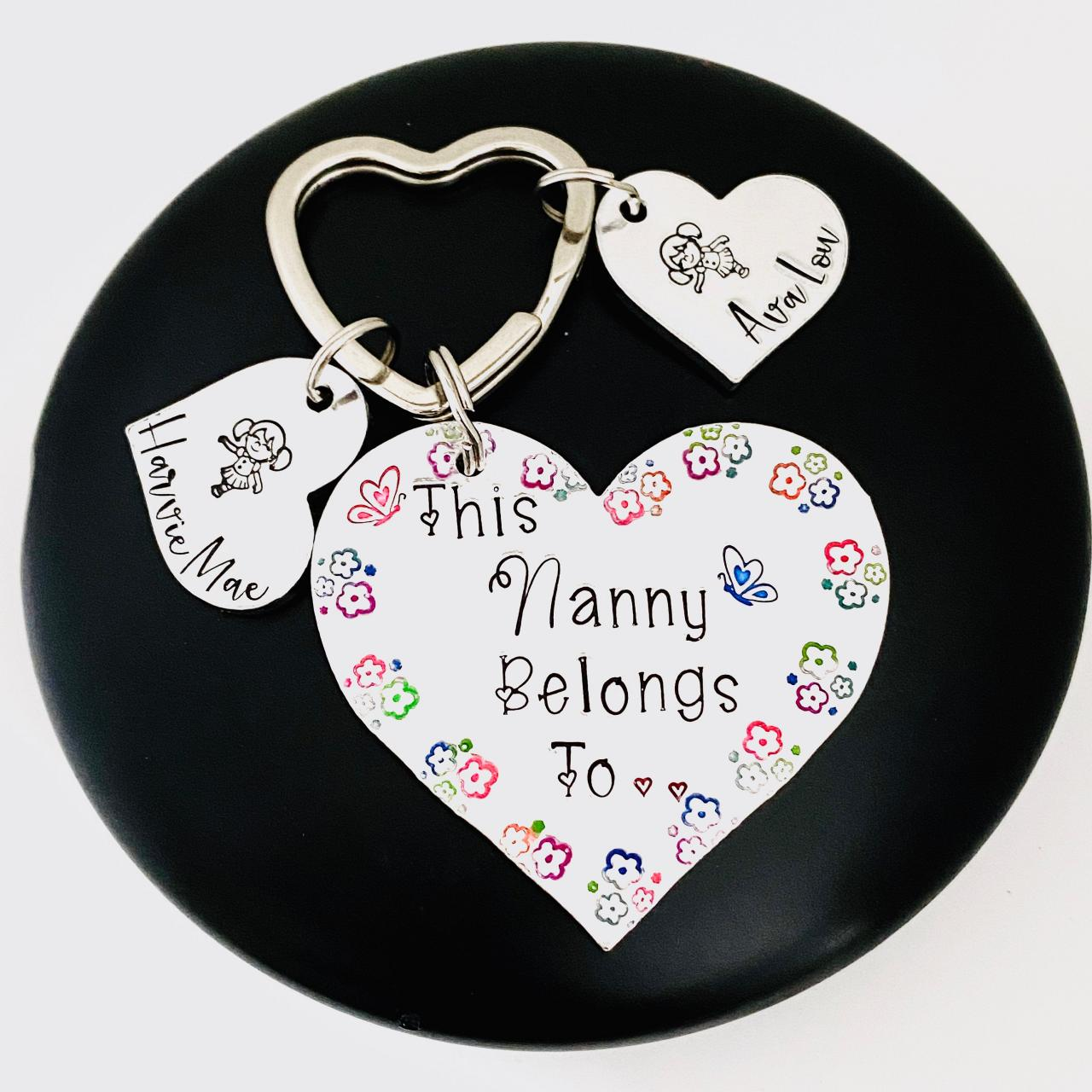 This Nanny belongs to Keyring, Personalised Gift For Nana, Family Tree Gift, Personalized Nanny Keychain, Gift For Her, Grandparent Gift..