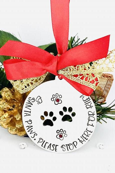 Santa Paws Stop Here Decoration, Personalised Pet Lover Gift, Dog Christmas Bauble, Cat Ornament, Dog Ornament, Pet Gift, Gift For Dog Cat