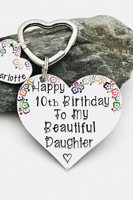Personalised Birthday Keyring For Daughter, 10th 18th Birthday Gift, Heart Keychain, Personalized Daughter keychain, Special Birthday Gift