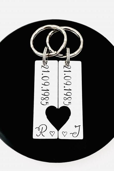Couples Keyrings, Personalised Wedding Gift, Anniversary Present, Valentines Gift, Special Date, His and Her keychain, Husband and Wife Gift