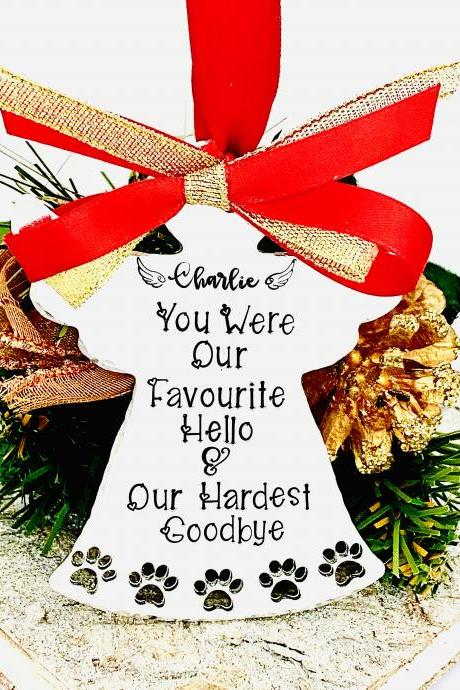 Personalised Pet Memorial Tree Decoration, Pet Loss Gift, Hand Stamped Paw Print Ornament, Dog Cat Christmas Decoration, Pet Memory Bauble