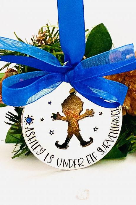 Personalised Elf Decoration, Christmas Tree Ornament, This House Is Under Elf Surveillance, Child's Name Decoration, Christmas Name Bauble