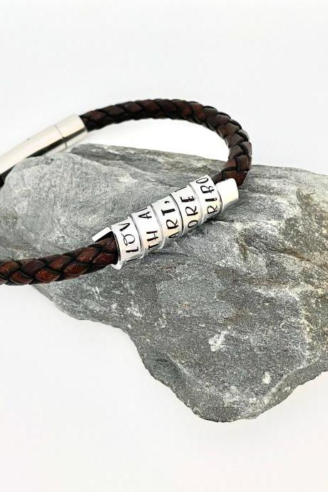Hand Stamped Leather Bracelet, Gift For Husband, Mens Personalised Jewellery, Fathers Day Gift, Cork Vegan Jewellery, Anniversary Gift