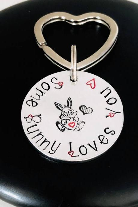 Some Bunny Loves You Keyring Keychain, Valentines Gift, Couples Gift, Anniversary Gift, Girlfriend Boyfriend Gift, Personalised Rabbit Gift