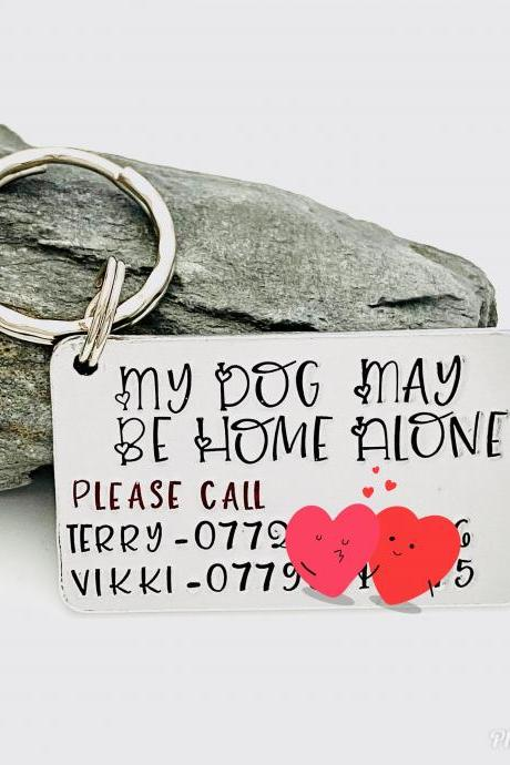 Personalised Pet Safety Keyring, Pets Home Alone Tag, Home Alone Keychain, Pet Emergency Gift, Gift For Pet Lover, Dog Lovers, Cat Lovers