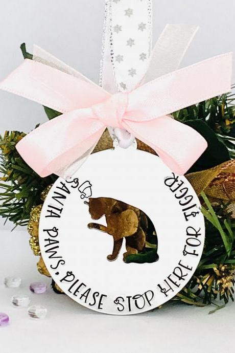 Personalised Cat Bauble, Santa Paws Stop Here, Christmas Cat Decoration, Cat Ornament, Custom Decoration, Gift For Cat, Mum, Pet Lover Gift