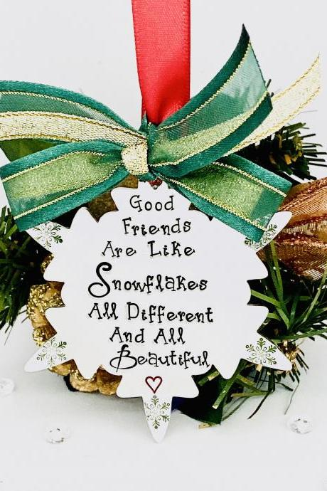 Good Friends Hand Stamped Decoration, Christmas Ornament, Snowflake Decoration, Personalised Decoration, Christmas Personalized Ornament