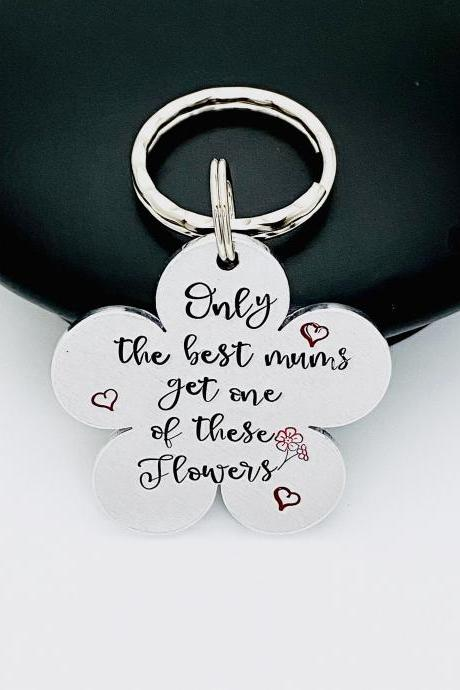 Mothers Day Keyring, Mothers Day Gift, Gift For Mum, Keyring for Mum, Flower Keyring, Gift for Nan, Nana Keyring, Hand Stamped Keyring