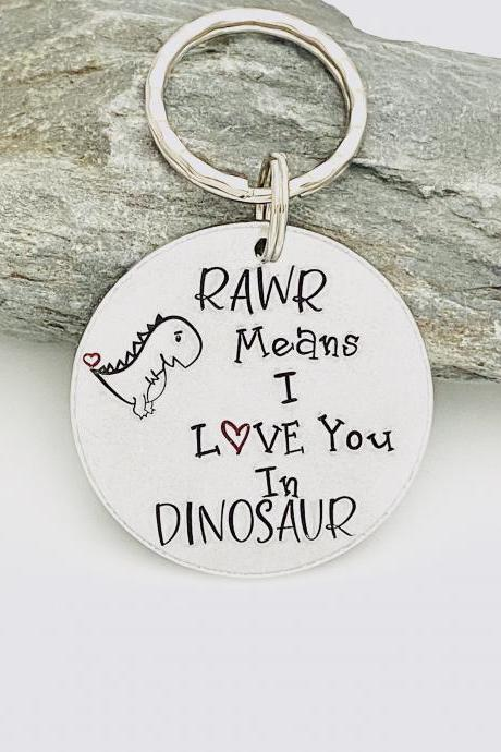 Rawr Means I Love You in Dinosaur, Dinosaur Keyring, Dino Keychain, Valentines Gift, Gift For Husband , Mothers Day Present, Anniversary
