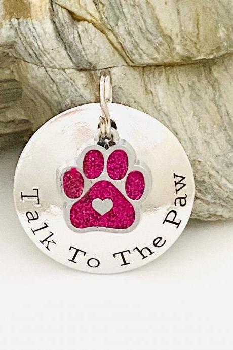 Dog ID Tag, Dog Tag For Dogs, Personalised Dog Tag, Pet ID Tag, Dog Collar Name Tag, Puppy Dog Tag, Double Sided Dog Tag. Cute Paw Print Tag