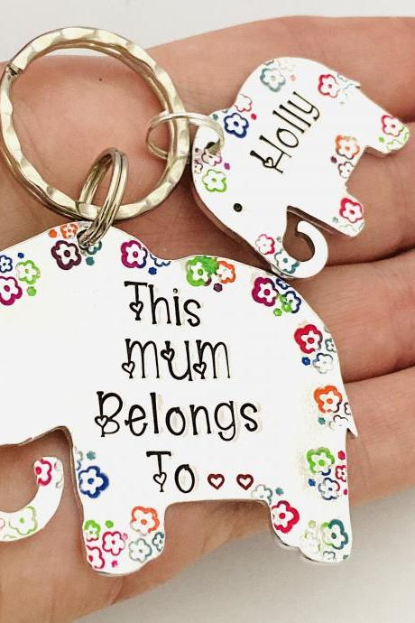 This Mummy Belongs To, Keyring for Mummy, Personalised Mum Mom Keychain, Elephant Gift, Mothers Day Gift, Grandma Gift.Gift Off The Kids