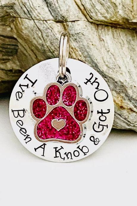 Knob Dog Tag, Dog Tags For Dogs, Dog Collar Name Tag, Pet Identity Tag, Puppy Dog Tag, Funny Dog Tag, Personalised Dog Tag.Small Dog Tag