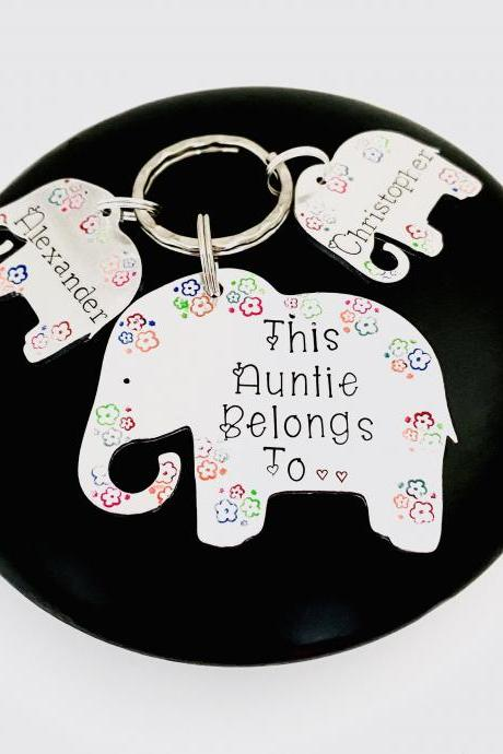 This Auntie Belongs To Keyring, Personalised For Auntie, Family Tree Gift, Auntie Aunty Keychain, Elephant Gift, Personalized Auntie Gift..
