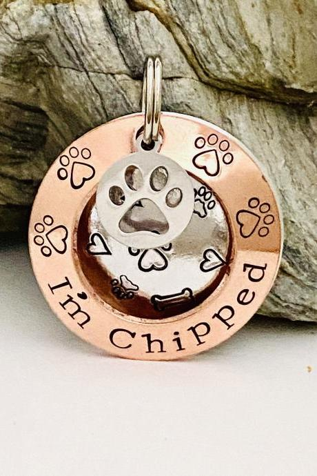 Chipped Dog Tag, Dog ID Tag, Dog Tags For Dogs, Personalised Double Sided Dog Tag, Puppy Dog Tag, Dog Collar Name Tag, Custom Pet ID Tag..