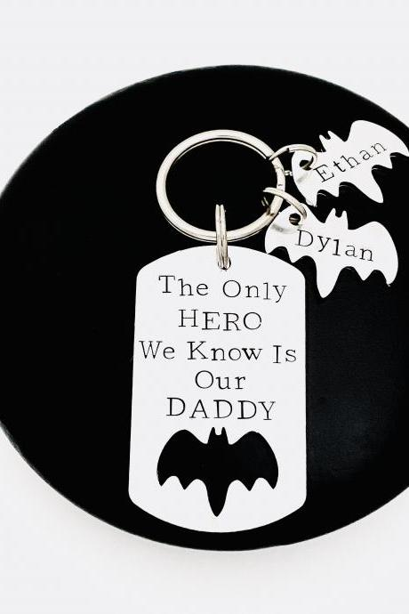 Personalised Keyring, Gift For Daddy, Grandad Gift , Fathers Day Gift, Personalised Keychain, New Daddy Gift, Hero Keychain, Gift For Dad..