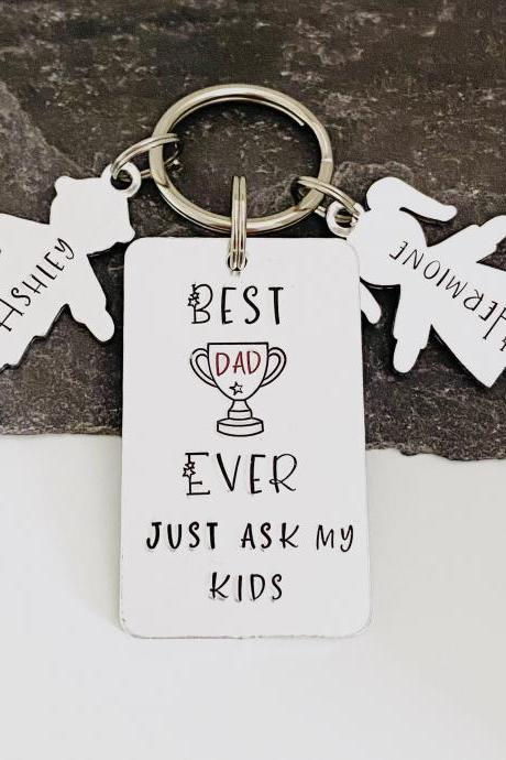 Best Dad Keyring, Personalised Fathers Day Gift, Gift Off The kids, New Dad Keychain, Personalised Keyring, Gift For Him, Dad Birthday Gift..