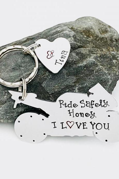 Ride Safely Keyring, Motorbike Personalised Keychain, Valentines Keychain, Husband Gift, Gift for Daddy. Custom Motorcyclist Gift,Male Gift.