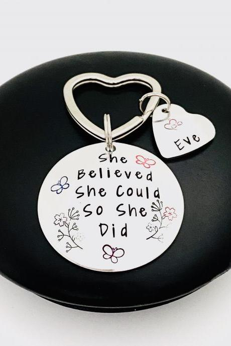 She Believed She Could So She Did Keyring Keychain, Personalised Motivational Keyring, Friendship Gift, Graduation Gift, Gift For Daughter..