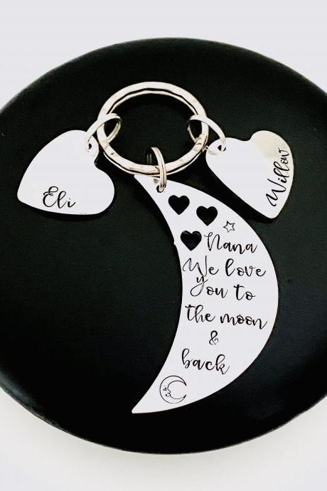 Love You To The Moon and Back, Personalised Gift For Nanna Nan, Mothers Day Gift, Gift Off The Kids, Auntie Keyring, Aunty Gift, Nanny Gift..
