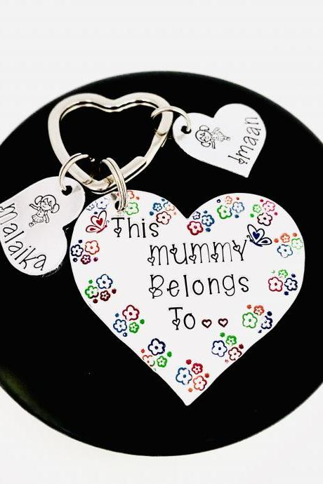 This Mummy Belongs To Keyring, Mummy Keychain, Nanna Gift, Nana Keychain, Mothers Day Gift, Gift For Auntie, Heart Keychain, New Mum Gift..