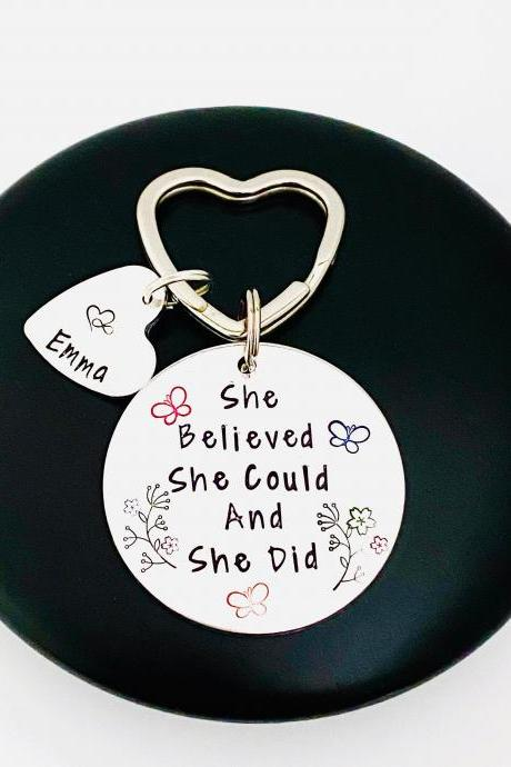 She Believed She Could And She Did Keyring, Personalised Name Keyring, Graduation Keychain, Motivation Gift, Graduation Gift, Gift for Her..