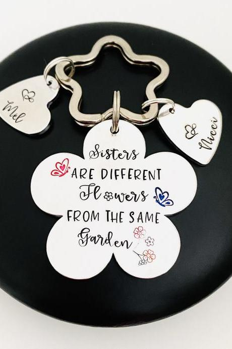 Gift for Sister, Personalised Sister Keyring Keychain, Birthday Gift for Sister, Best Friend Sister Gift, Bestie Gift, Flower Keychain..