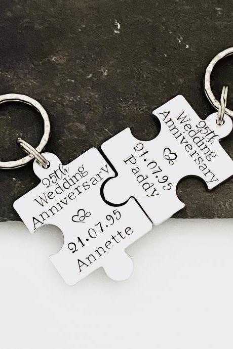 25th Wedding Anniversary Gifts, Aluminium Copper Puzzle Keyring, Copper Jigsaw keychain, Couples Gift, Wedding Gift, Valentines Day Gift..