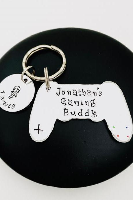 Gaming Buddy Keyring, X Box Keychain, Gaming Gift, PlayStation Gift, Gaming Keychain, Personalised Gift For Daddy, Gift Off The Kids..