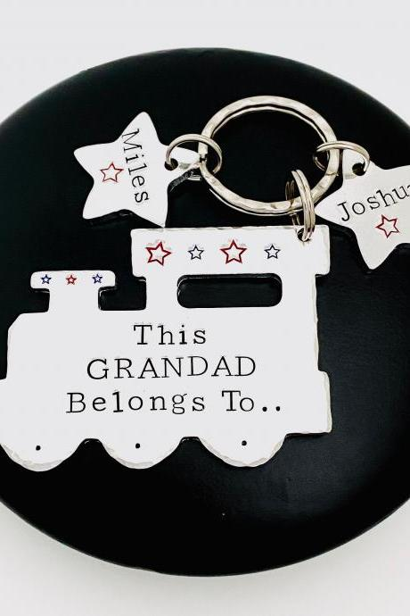 Belongs To Keyring, Gift for Grandad, Personalised Grandad Keychain, Papa Gift, Personalized Gift For Daddy, Train Lover Gift, Gift Off Kids..