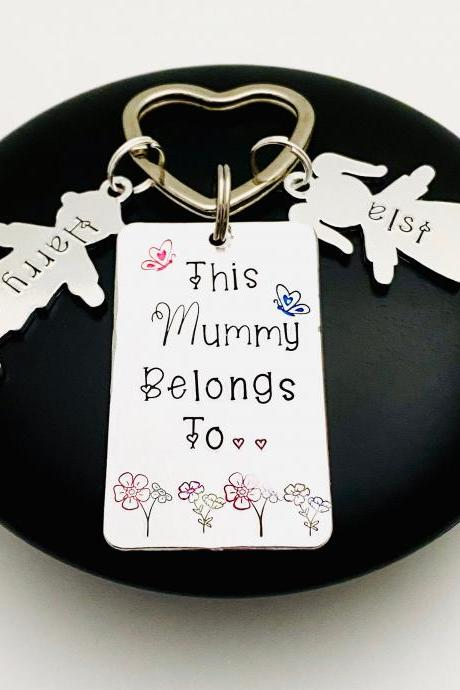 This Mummy Belongs To keyring, Personalised Mummy Gift, Family Tree, New Mummy Gift, Gift Off The Kids, Gift For Her, Personalized Mom Gift..