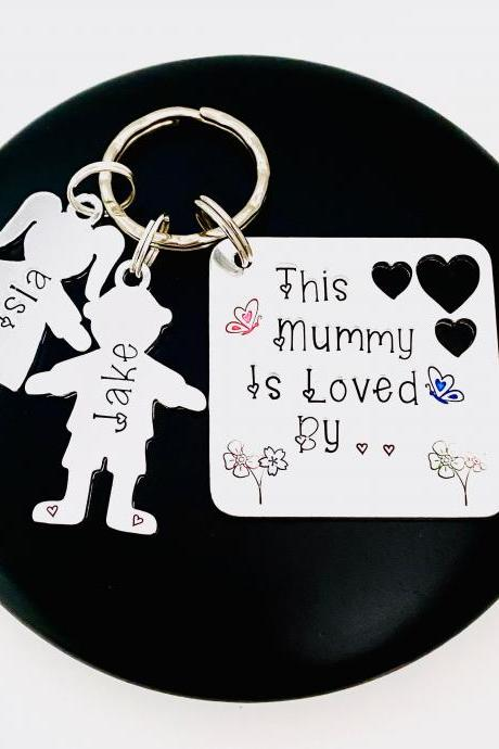 Personalised Mummy Keyring, Personalized Mom Keychain, Family Tree Gift, Gift For Mum, Custom Keyring For Mummy. Nanny Keyring, Gift For Nan..
