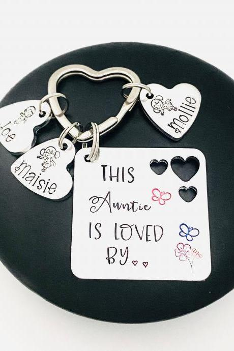 Personalised Auntie Keyring, This Auntie Is Loved By, Personalized Aunty Keychain, Family Tree Gift, Mothers Day Gift, Gift Off The Kids..