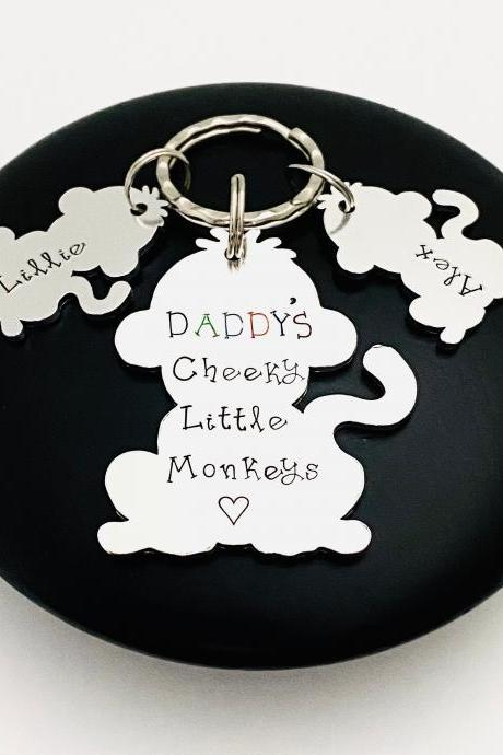 Personalised Gift For Daddy, Daddy's Cheeky Monkeys, Daddy Dad Keyring, Grandad Gift, Gift For Papa, Fathers Day Gift, Grandparent Gift..