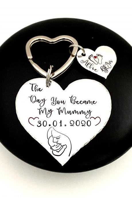 The Day you Became My Mummy Keyring, New Mummy Gift, Personalised Mummy Keychain, Personalized Gift For Mum, Birth Announcement, Mothers Day..