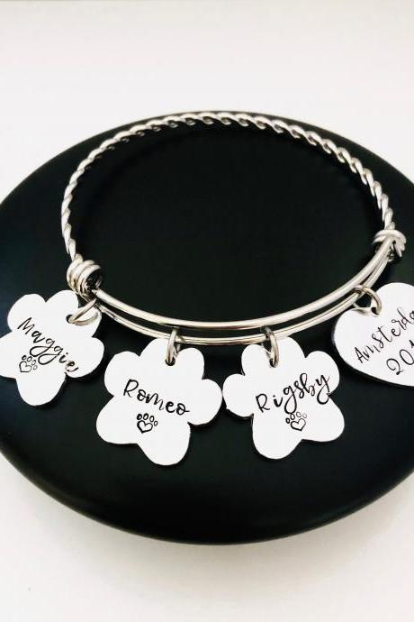 Personalised Pet Memorial Bracelet, Paw Print Gift, Pet Name Jewellery, Pet Keepsake Gift, Animal Lover Gift, Dog Cat Lover Gift, Custom..